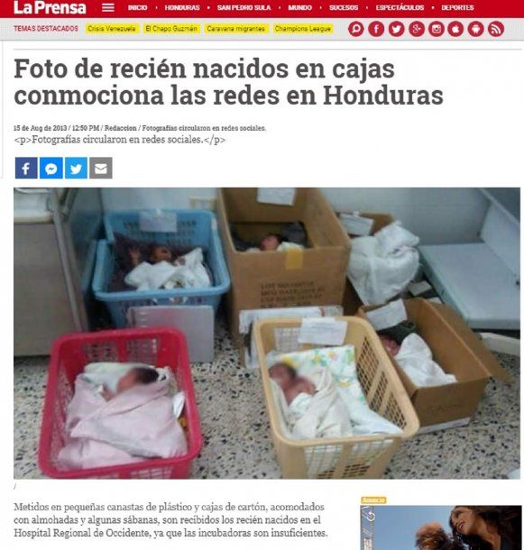 Bebés en cajas en Honduras, foto de 2013