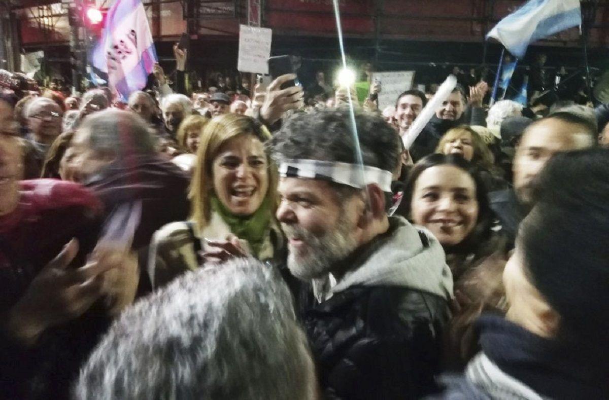 Alfredo Casero en una marcha a favor del Gobierno