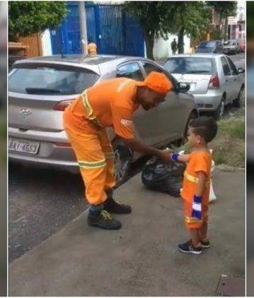 El pequeño que admira a los recolectores se volvió viral