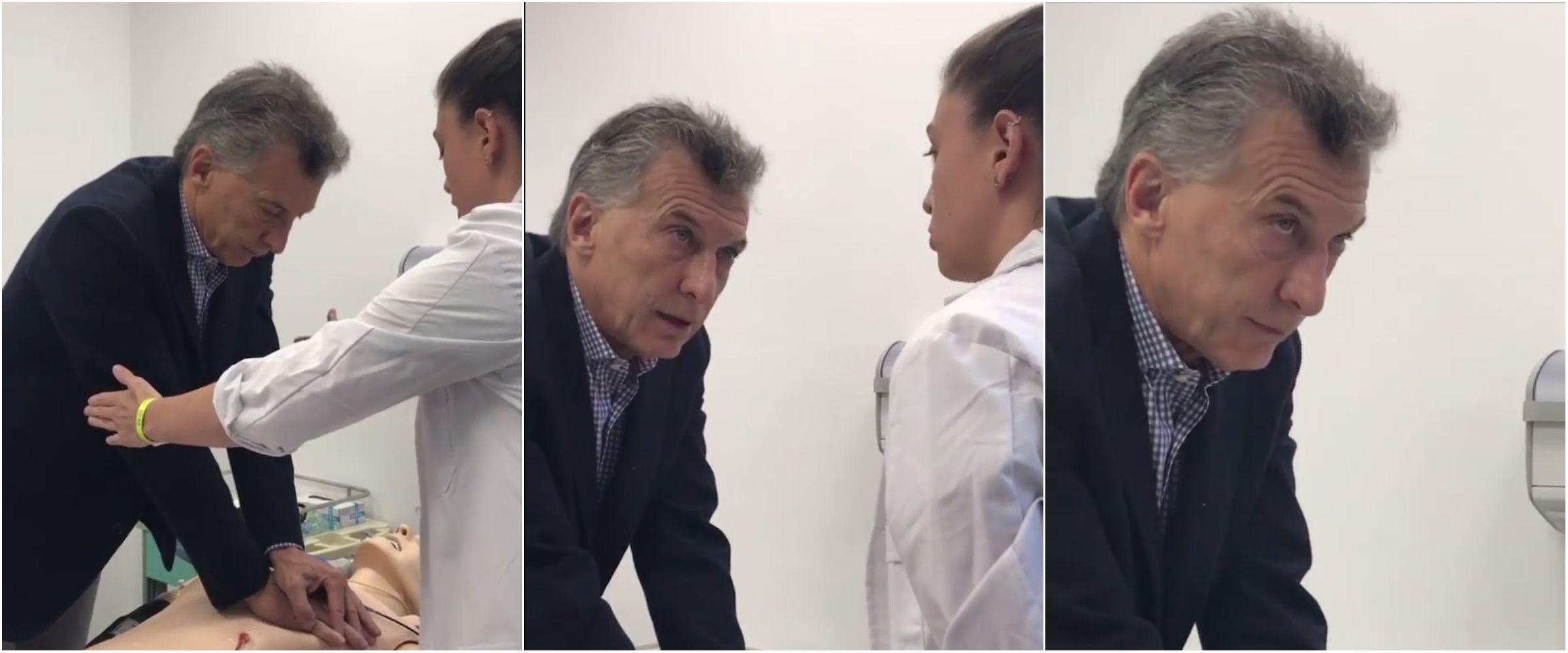 Mauricio Macri aprendiendo a hacer RCP
