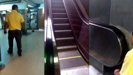 Subte: cruce por un video donde activan una escalera después de las quejas