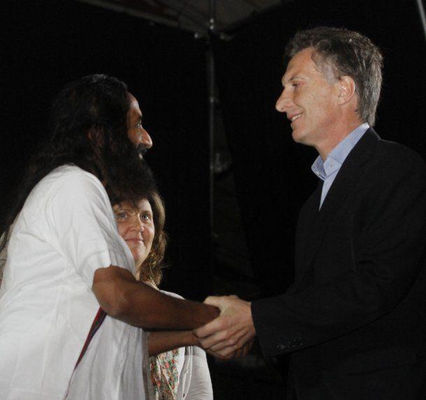 Mauricio Macri y Sri Sri Ravi Shankar
