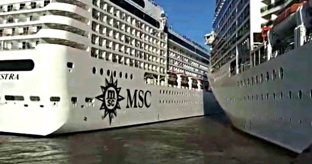 Dos cruceros de lujo chocaron en el puerto de Buenos Aires