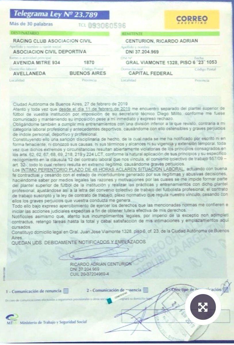 Carta documento de Centurión a Racing