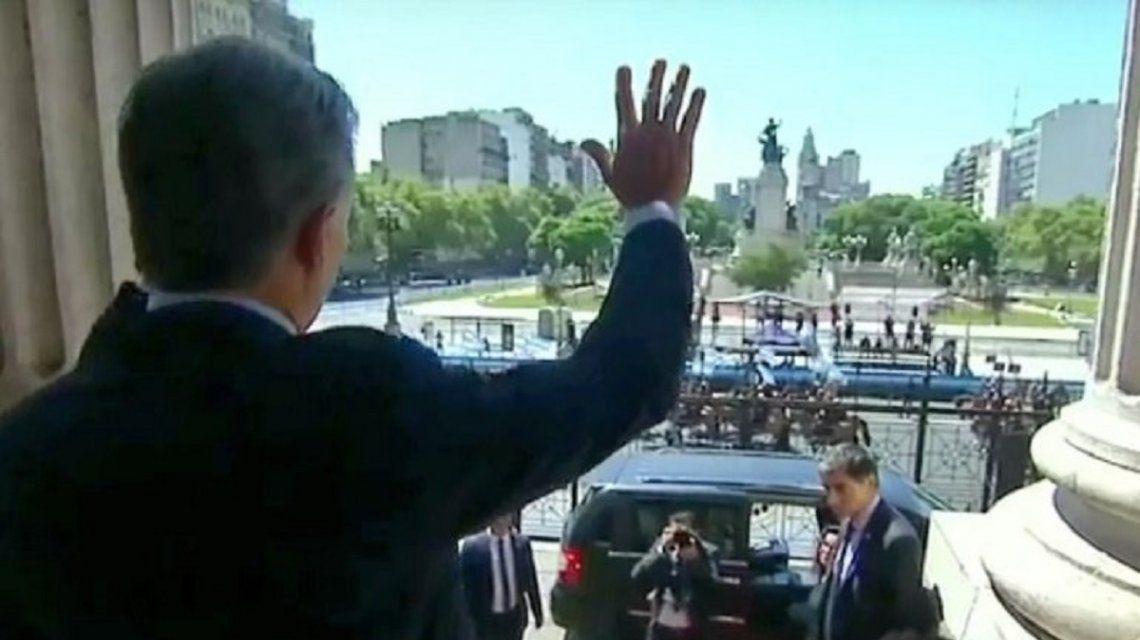 Macri en las escalinatas del Congreso
