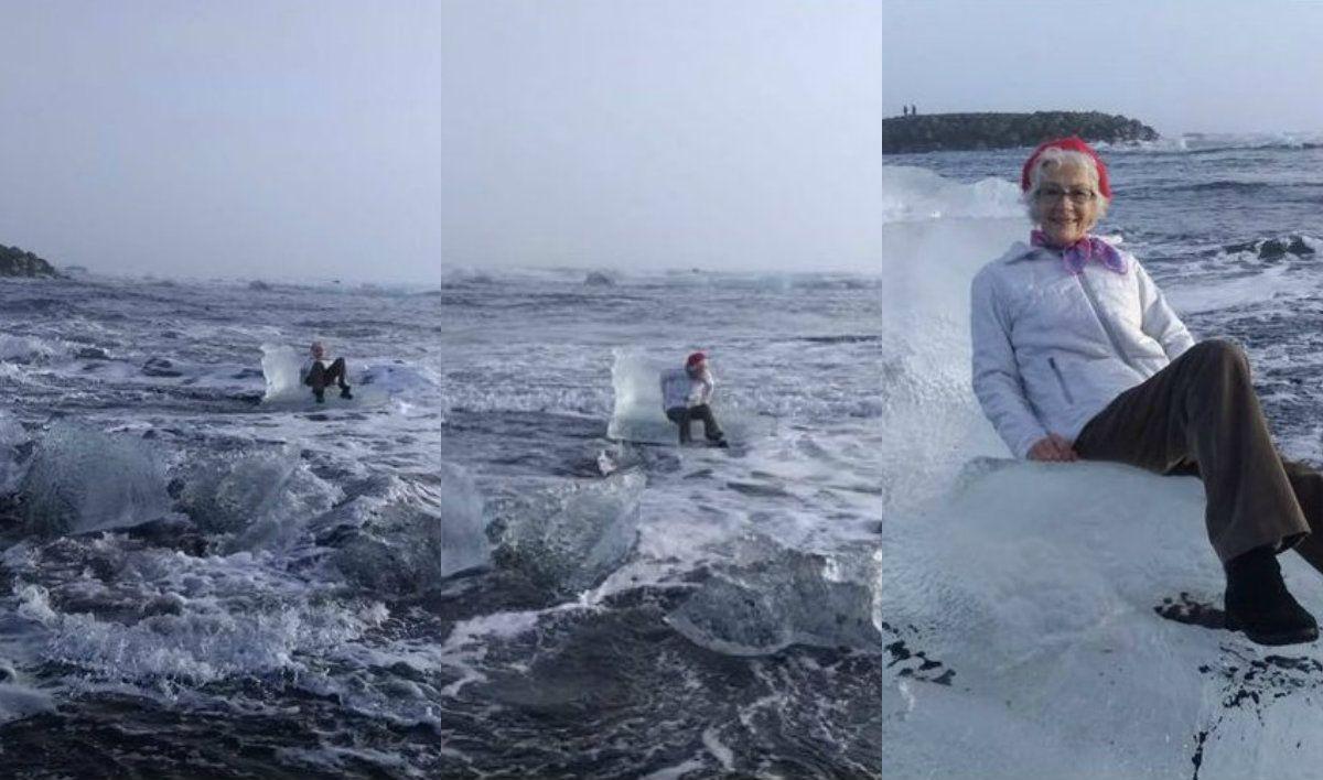 Una abuela terminó a la deriva por querer sacarse una foto en un trono de hielo