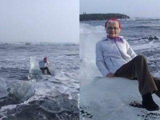 una abuela termino a la deriva por querer sacarse una foto en un trono de hielo