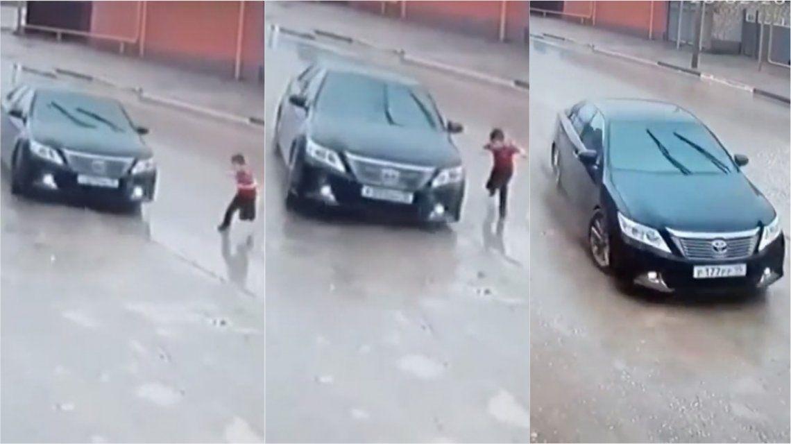 VIDEO: La rápida maniobra de un conductor salvó a un nene de morir atropellado
