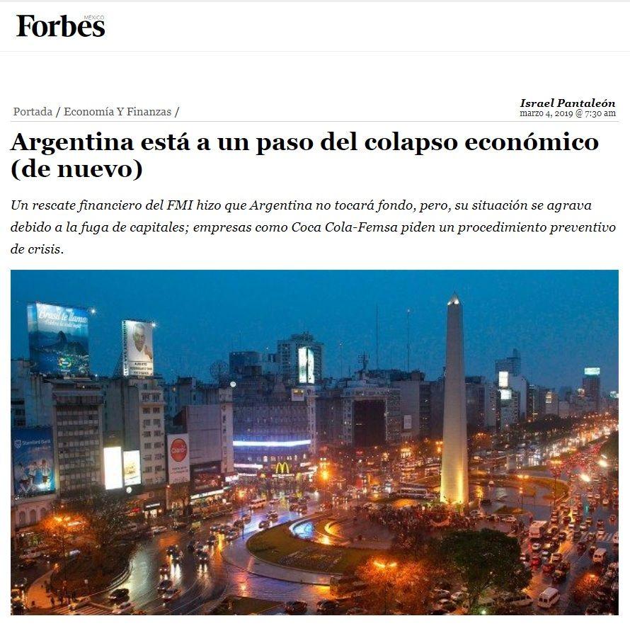 La Argentina está a un paso del colapso económico (de nuevo), según la revista Forbes