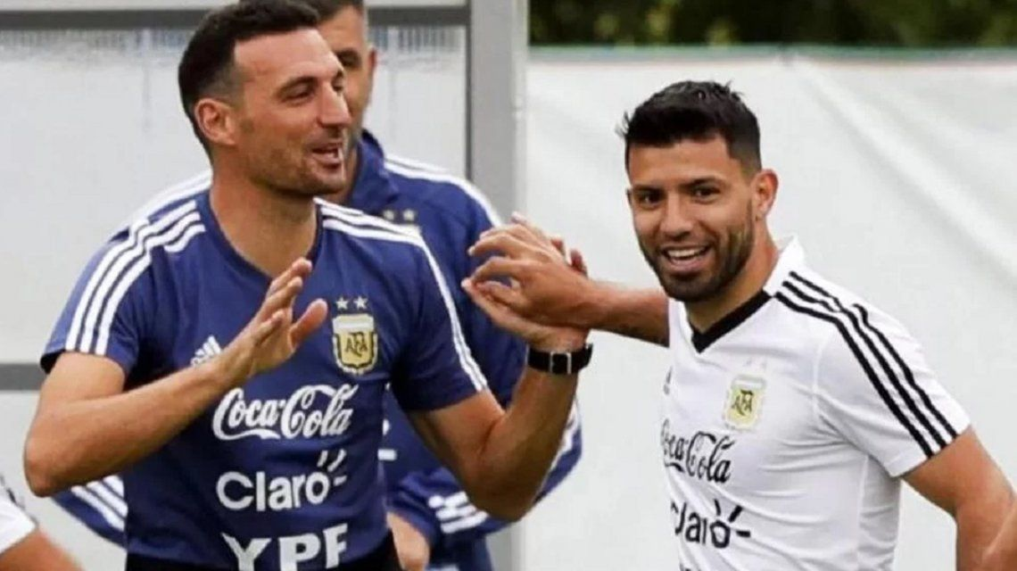 Lionel Scaloni y Sergio Kun Agüero