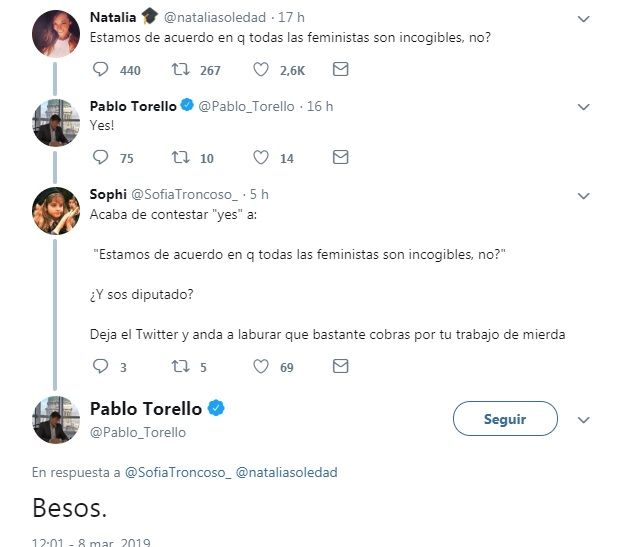 El comentario misógino y machista del diputado de Cambiemos Pablo Torello en Twitter