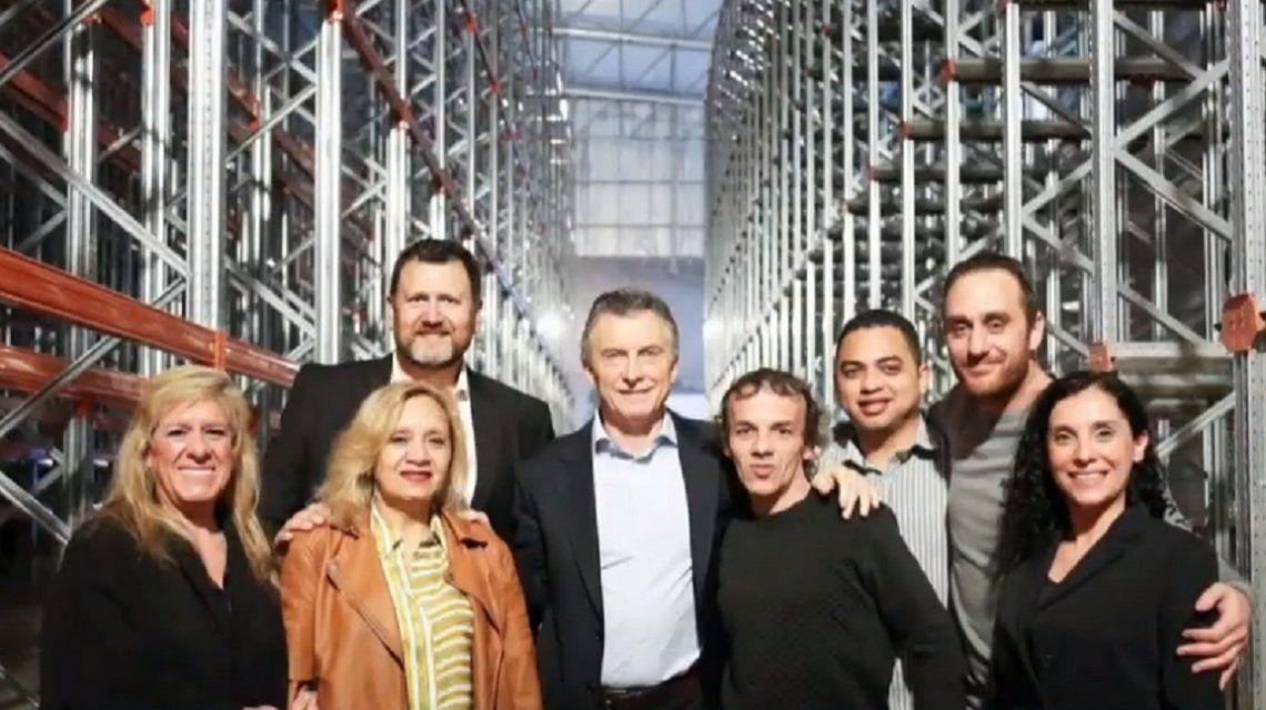 Mauricio Macri en su visita a Norughi
