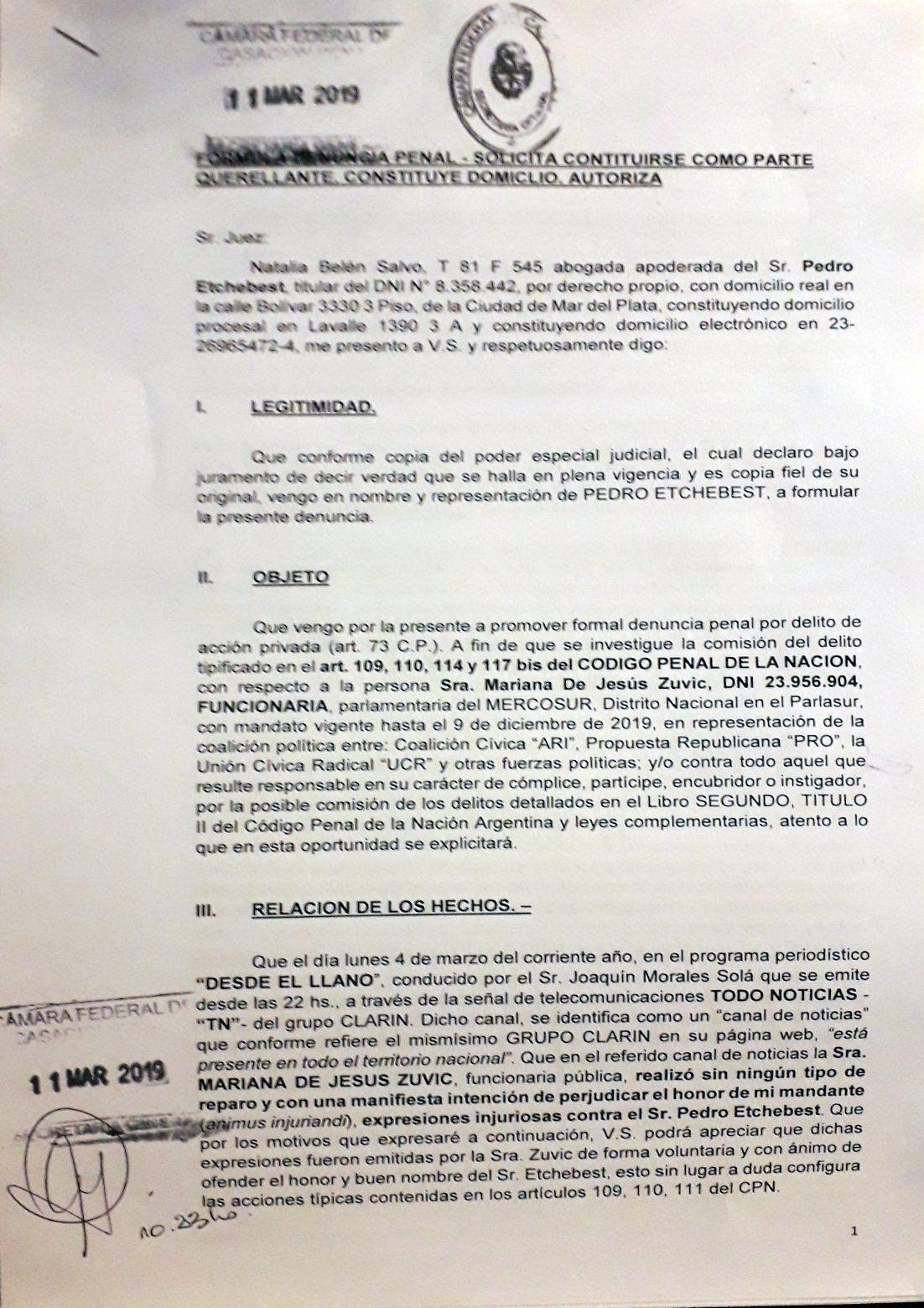 Denuncian a la diputada de Cambiemos Mariana Zuvic por calumnias e injurias contra el empresario que acusó a Stornelli