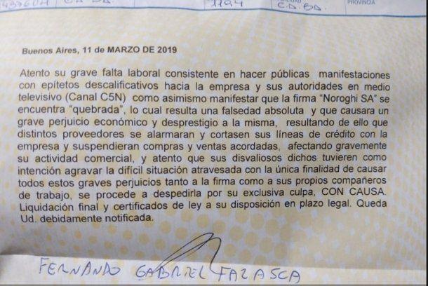 El telegrama de despido que recibió Agustinas Pérez