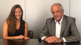 La periodista junto al presidente de River, Rodolfo DOnofrio