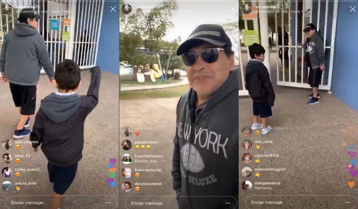 Diego Maradona llevó a su hijo Dieguito Fernando al colegio: el video