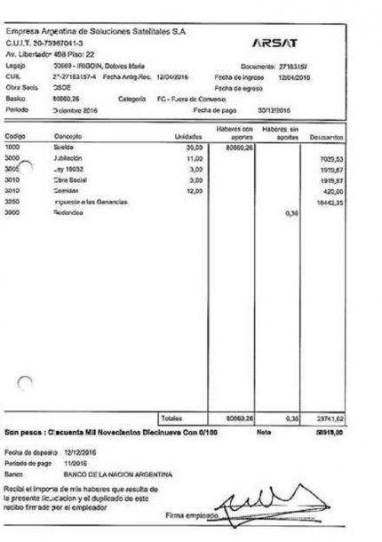 El recibo de sueldo de Dolores Irigoin<br>