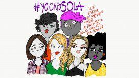 {alttext(Ilustración de Romina Ferrer//@RoFerrerIlustra,#YoCrioSola: el 85% de los hogares monoparentales están a cargo de una mujer)}