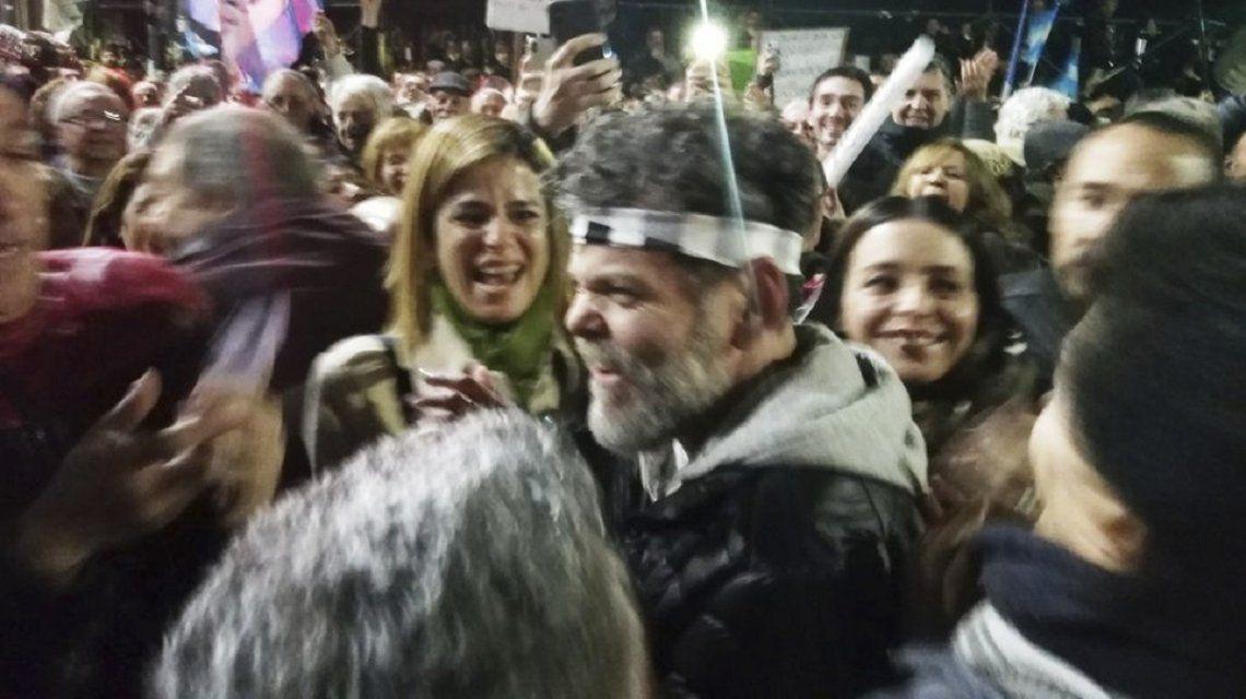 Alfredo Casero en una marcha a favor del macrismo