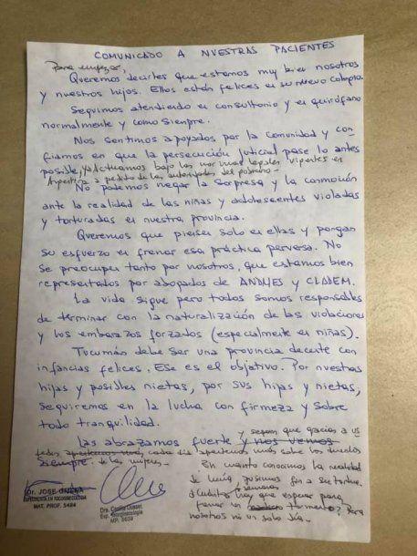 <p>La carta de los médicos Cecilia Ousset y José Gijena, denunciados por homicidio</p>