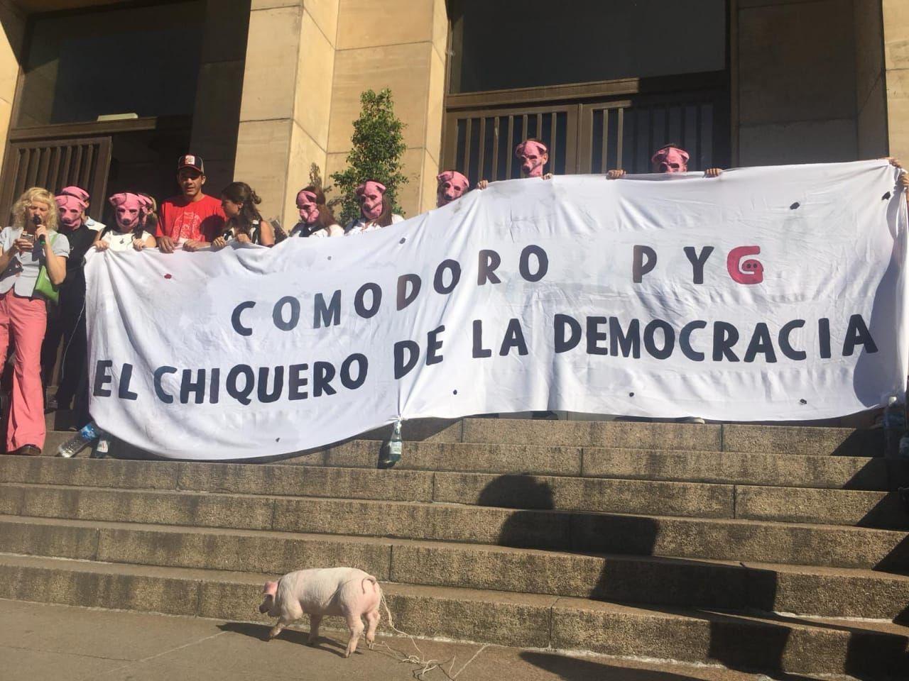 Comodoro PYG: protestaron con un chancho contra la corrupción en los tribunales de Retiro
