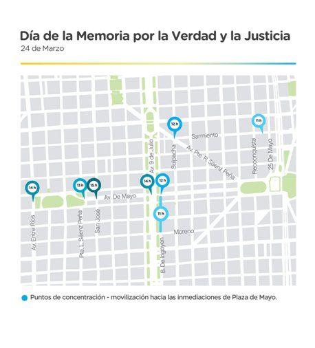 Los puntos de concentración para la marcha del 24 de Marzo<br>
