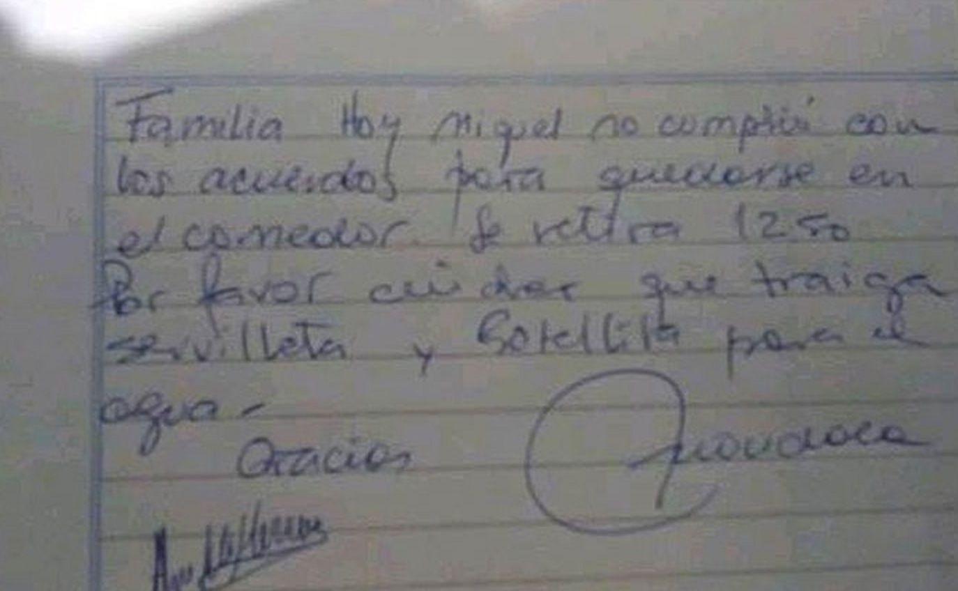 La nota que publicó el padre en Facebook