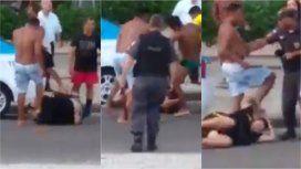 La policía de Bolsonaro deja que hinchas de Flamengo golpeen a uno de Peñarol