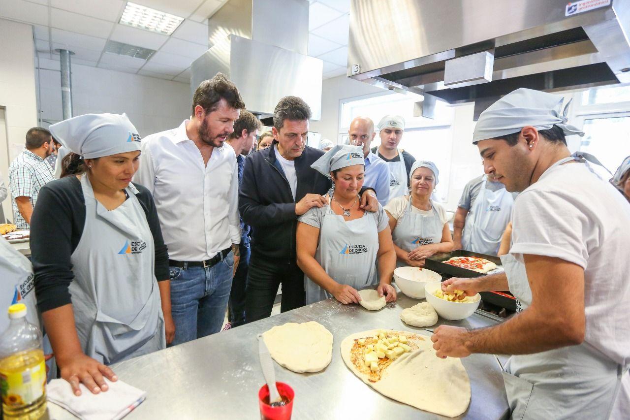 Sergio Massa y Marcelo Tinelli visitaron la escuela de oficios de San Fernando