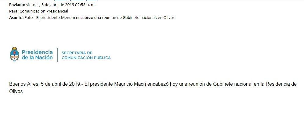 ¿Vuelve Menem? Un mail del Gobierno dejó a todos con la boca abierta