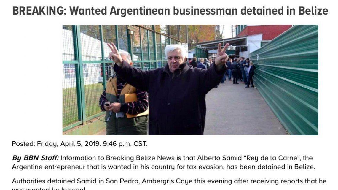 Medios de Belice aseguran que Samid fue detenido por la policía local