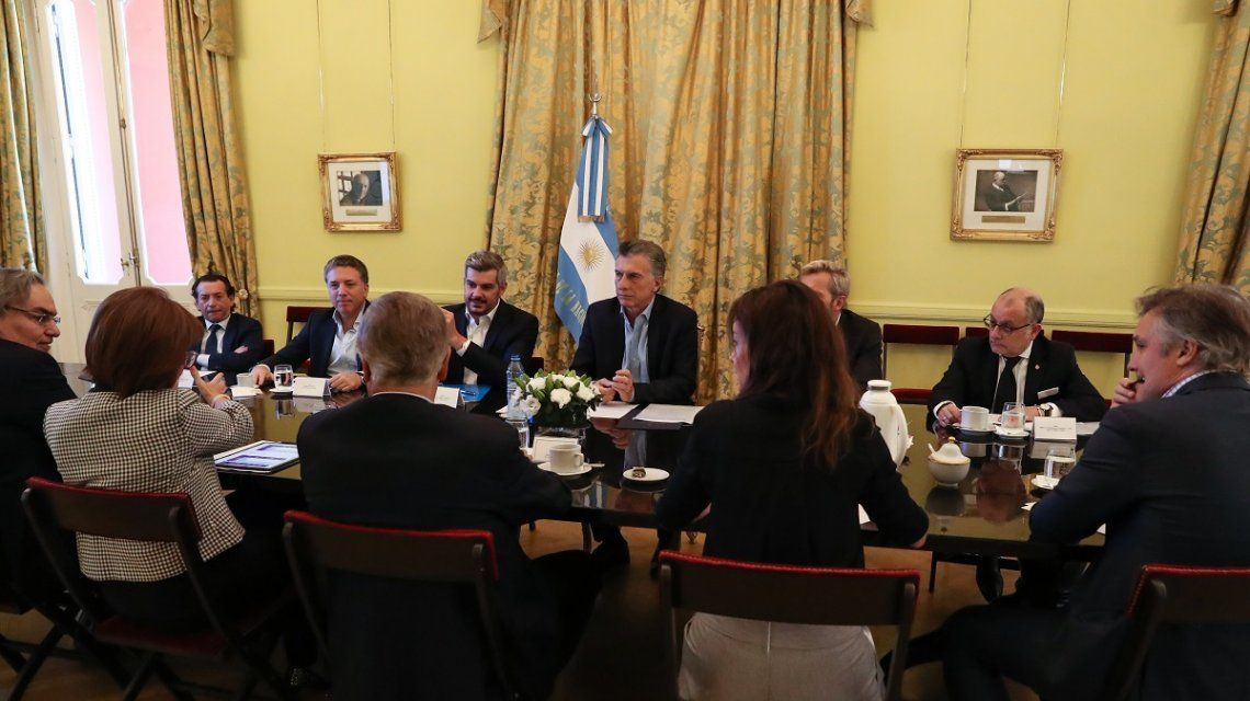 Macri y sus ministros en la reunión de Gabinete de este lunes