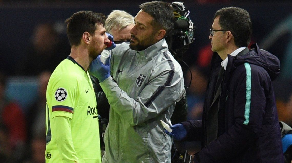Lionel Messi quedó herido en Old Trafford
