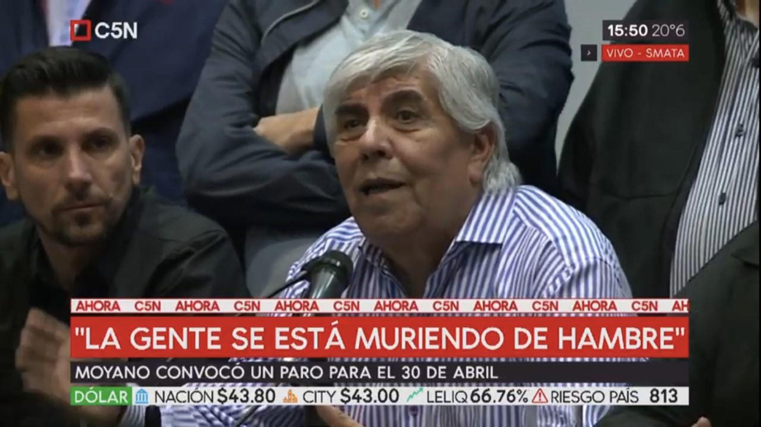 Hugo Moyano: Se muere gente, se muere la industria y la CGT no reacciona