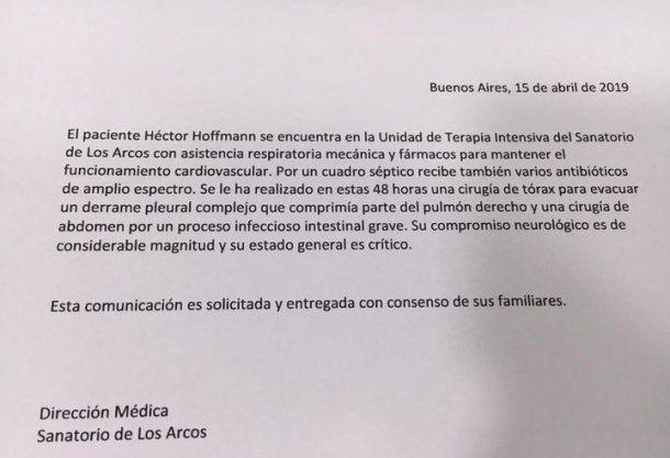 El último parte médico sobre Sergio Denis
