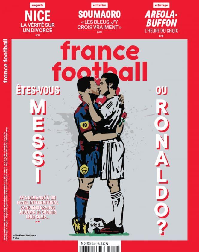 Messi y Cristiano Ronaldo, a los besos en la tapa de la revista France Football