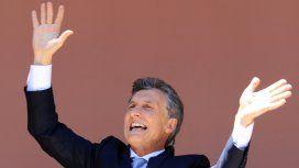 Mauricio Macri en el balcón de la Casa Rosada