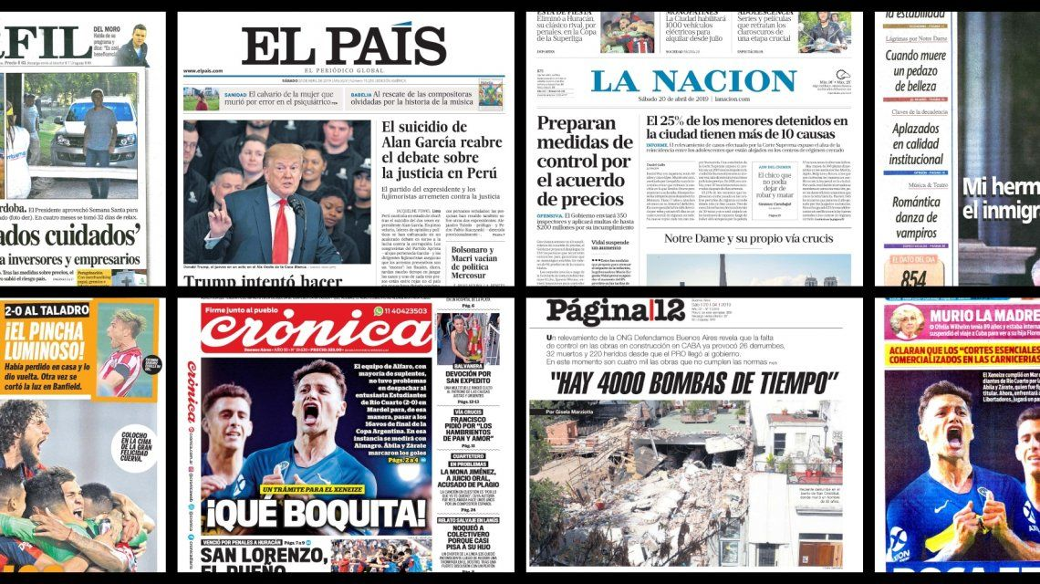 Tapas de diarios del sábado 20 de abril de 2019