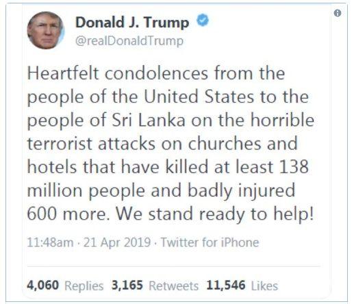 Nuevo pifie de Trump:  tuiteó que los atentados en Sri Lanka causaron 138 millones de muertos