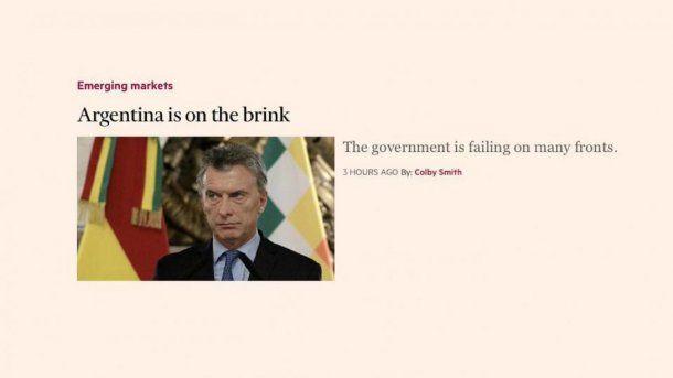 Para el Financial Times, la Argentina está