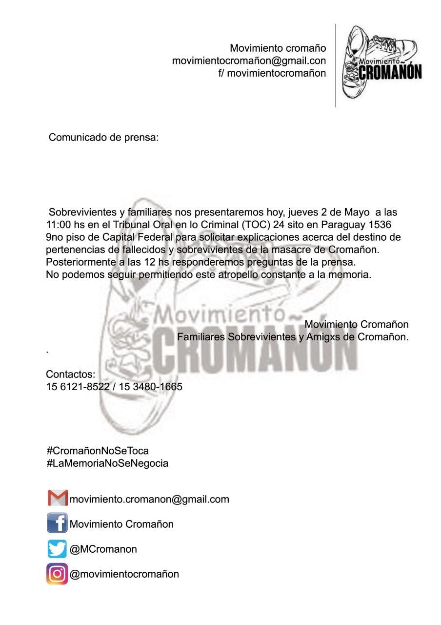Familiares y sobrevivientes de Cromañón denuncian que se robaron pertenencias y borraron huellas del boliche