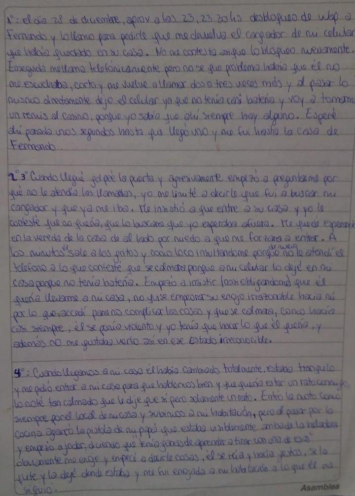 Carta manuscrita por Nahir Galarza. Gentileza Diario el Sol