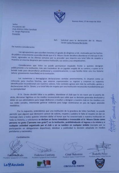 La carta de las agrupaciones de Vélez<br>