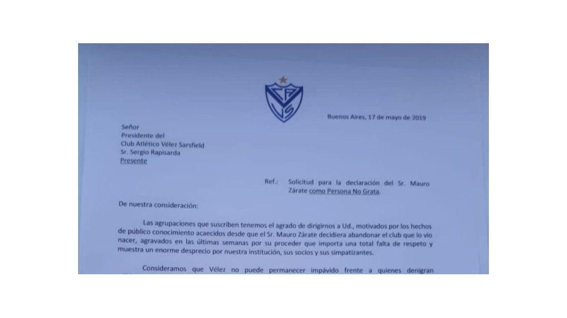 La carta de las agrupaciones de Vélez