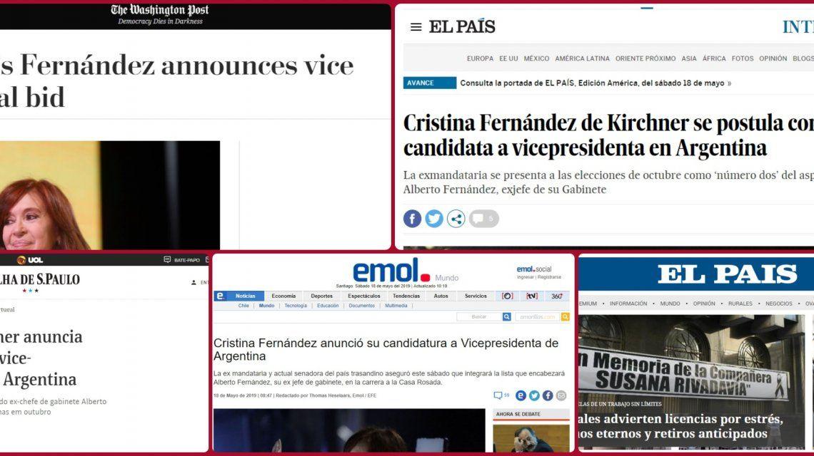 Los medios del mundo reflejaron el anuncio de Cristina