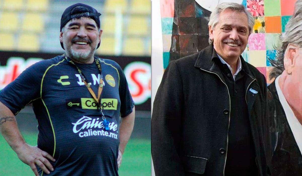 Diego Maradona y Alberto Fernández