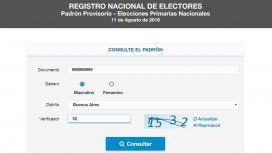 ¿Dónde voto? Consultá el padrón electoral 2019