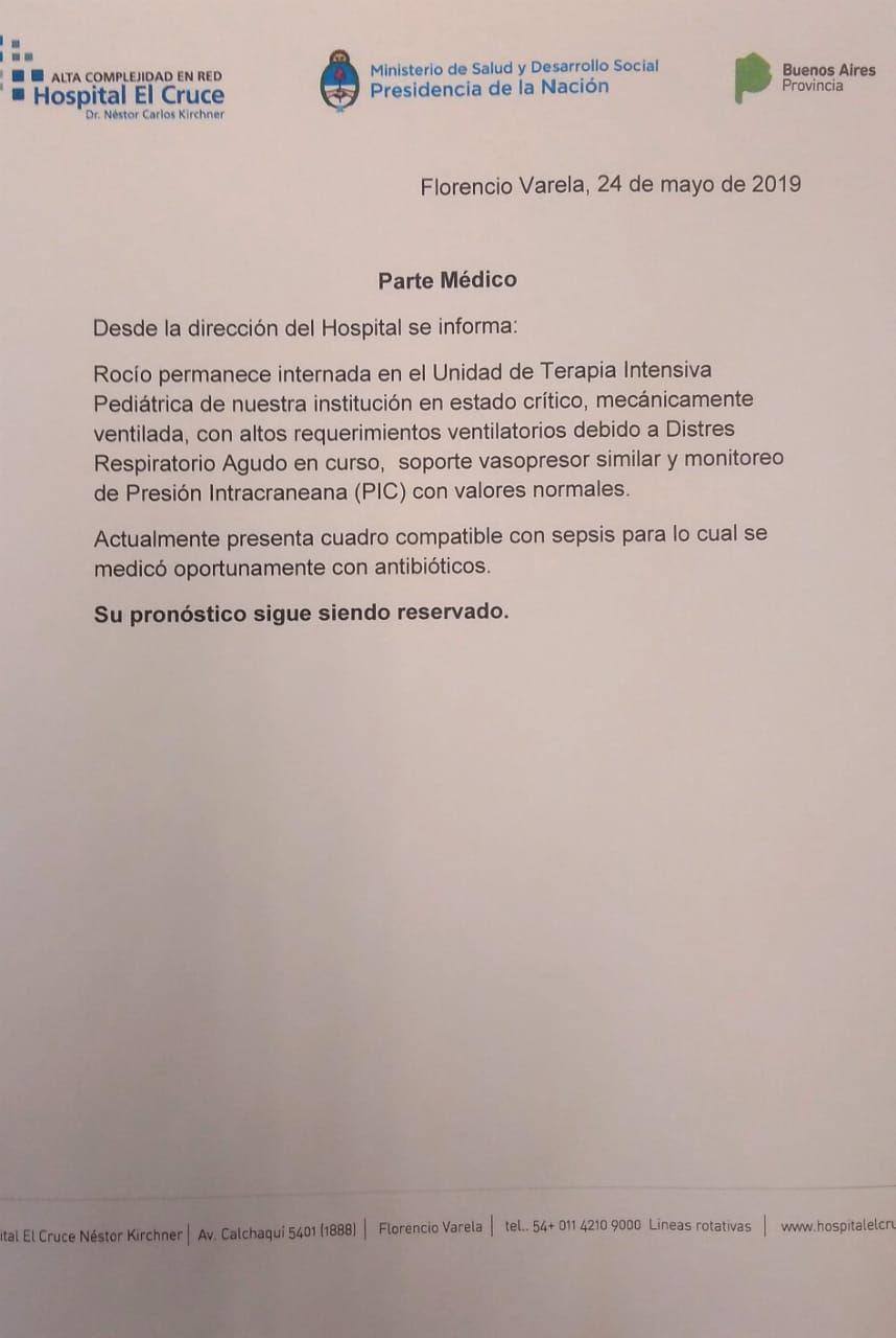 Nuevo parte médico de Rocío Guagliarello, la única sobreviviente de la persecución de San Miguel del Monte