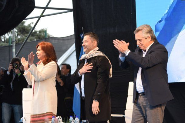 Cristina Kirchner, Gustavo Menéndez y Alberto Fernández<br>