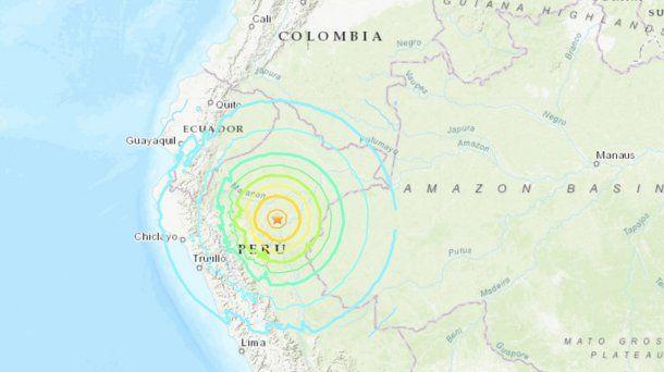 Epicentro temblor en Perú